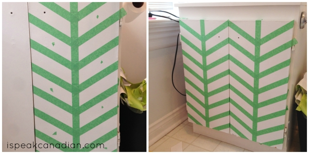 How to transform your drab vanity with a herringbone pattern from @ispeakcanadian.