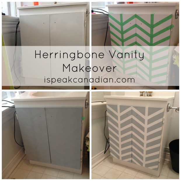 How to transform your drab vanity with a painted herringbone pattern from @ispeakcanadian.