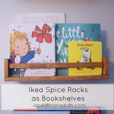 This girl stained (instead of painted) the Ikea Bekvam $7 spice rack. Great nursery bookshelves!