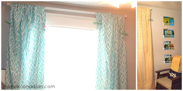 DIY Tablecloth Curtains - pin them onto the curtain rod to see if you like them