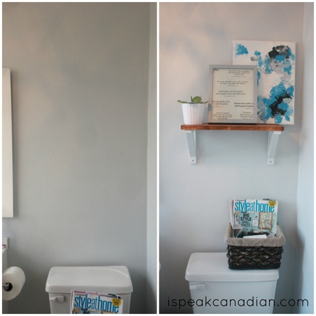 Half Bath Shelf Decor, all for $9 from www.ispeakcanadian.com