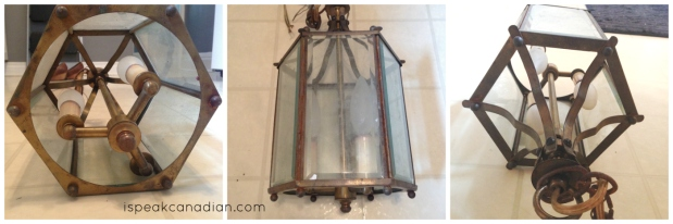 How to makeover this lantern with a can of spray paint and a decorative item.